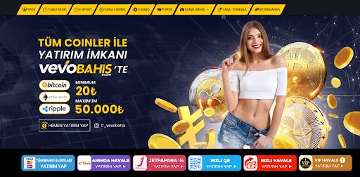 Vevobahis sitesinin ana sayfası